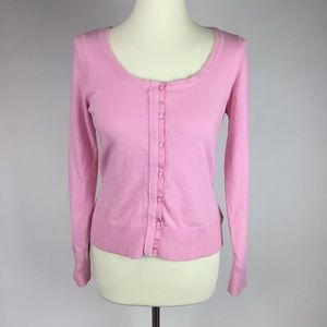 LILLY PULITZER PINK CARDIGAN SWEATER WHITE LABEL
